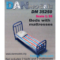 Military beds with mattress and pillow, 2pcs