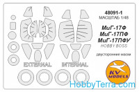 Mask 1/48 for MiG-17F/PF/PFU (double sided) + wheels, for Hobby Boss kit