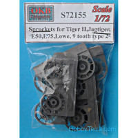 Sprockets for Tiger II,Jagtiger,Panther II,E50,E75,Lowe, 9 tooth, type 2
