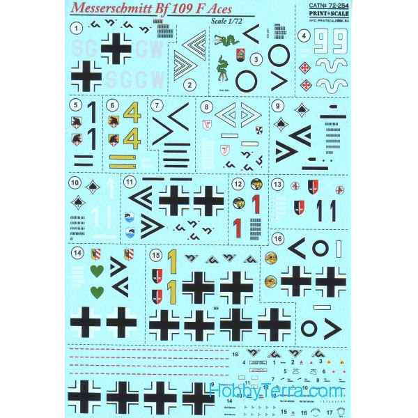 Decal 1/72 for Messerschmitt Bf.109 F Aces