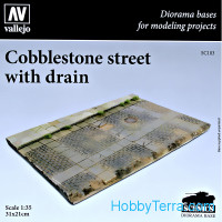 Cobblestone street with a drain